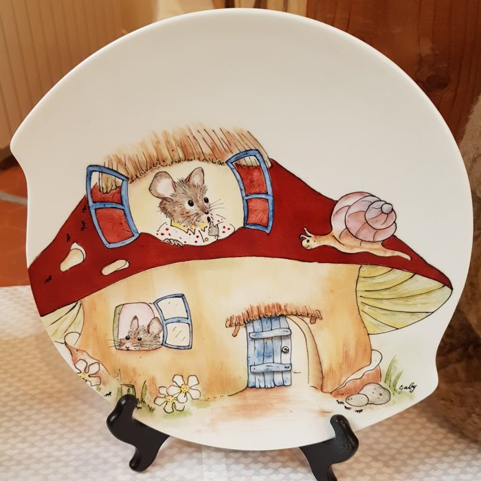 Assiette Porcelaine Champignon Souris